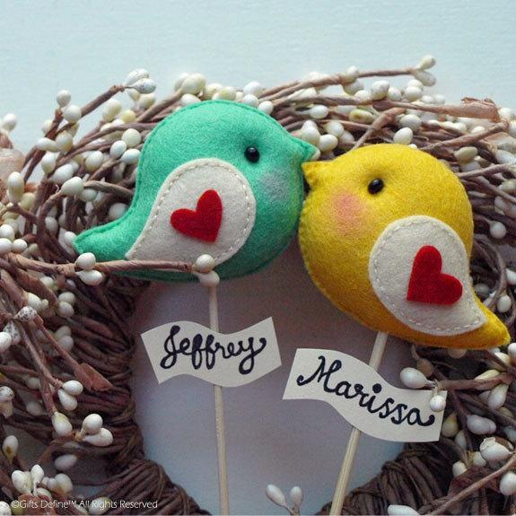 Hochzeit - Love Birds, Personalized Wedding Cake Topper, Valentine's Day Gift, Party Decor, Wedding Photo Prop, Wedding Reception Decor for Bride Groom