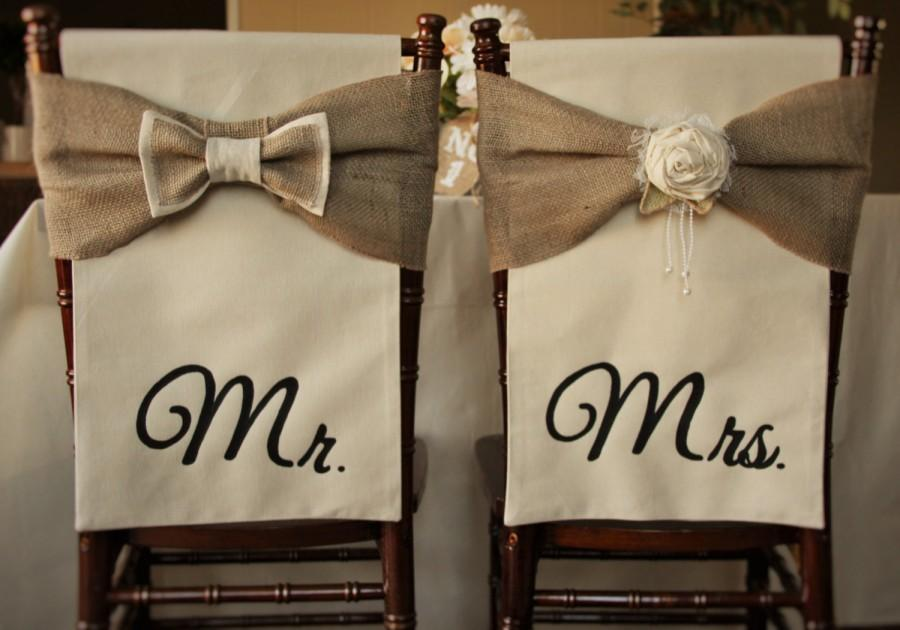 Hochzeit - Wedding Chair Covers Rustic Chiavari Chair Cover Mr & Mrs Chair Set of 2