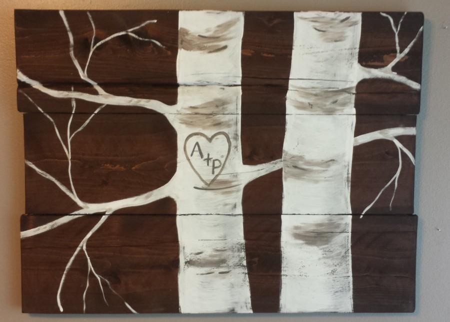 Hochzeit - Hand painted aspen tree reclaimed wood sign..personalize with your initials. Great wedding or anniversary gift