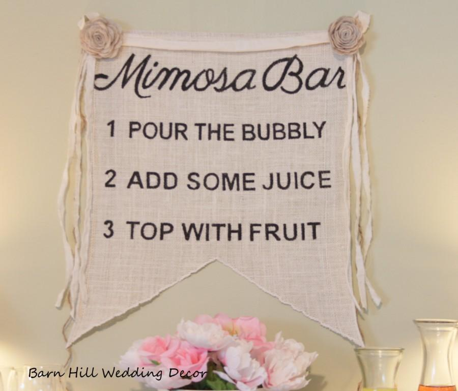 Свадьба - Mimosa Sign Mimosa Bar Sign Mimosa Burlap Banner Bridal Shower Sign Mimosa Bridal Shower Burlap Sign Bar Sign Rustic Bridal Shower