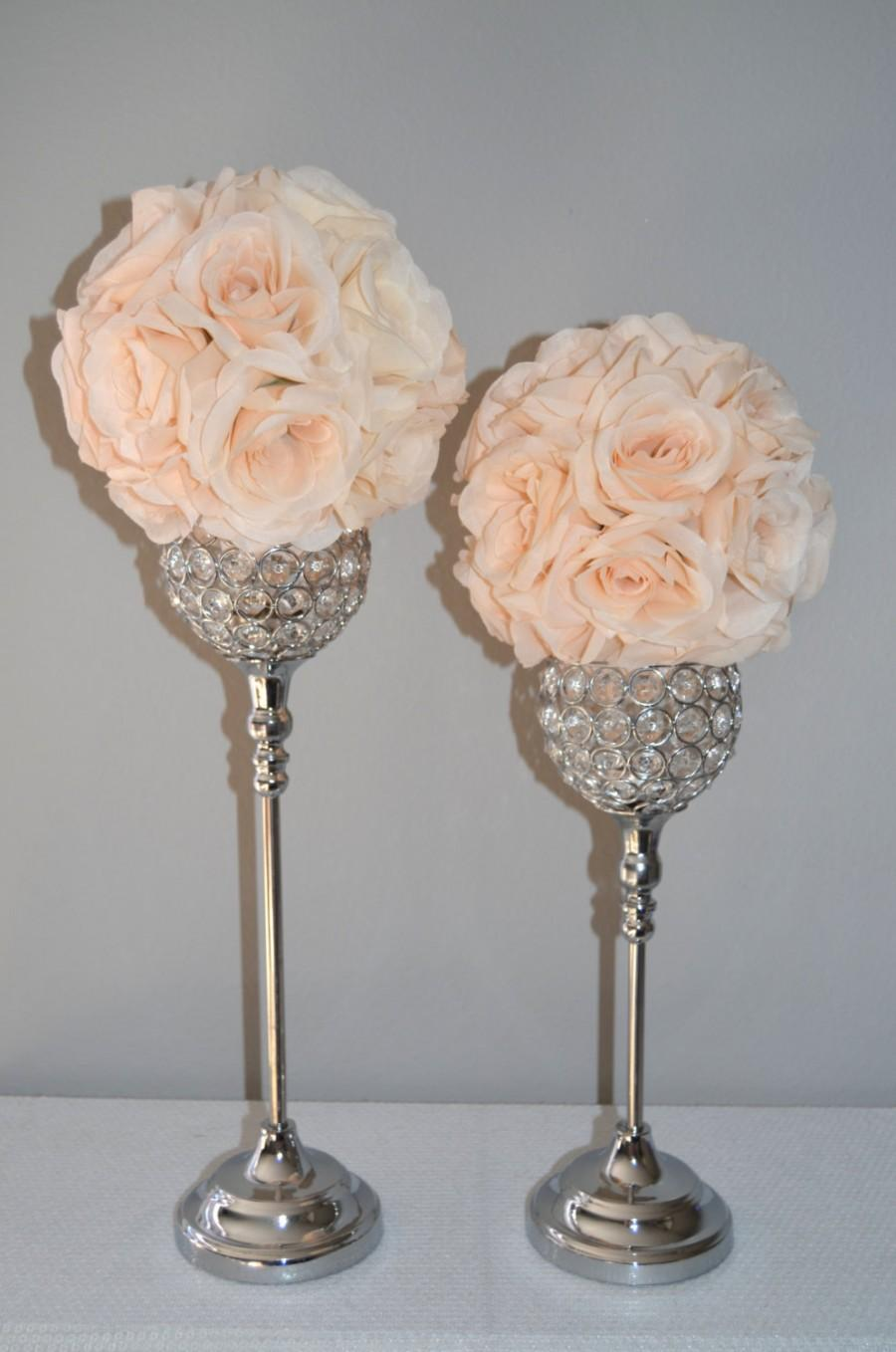 Set Of 2 Silver Bling Rhinestone Flower Ball Stands Or Candle Holder