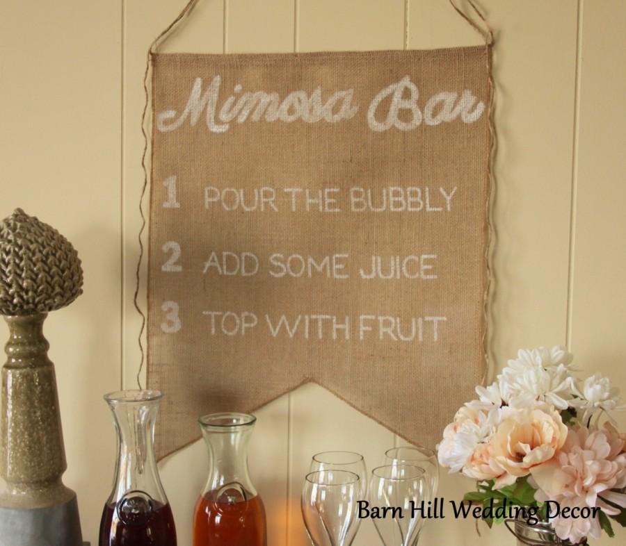 Mimosa Sign Burlap Banner Bridal Shower Signs Rustic Bar