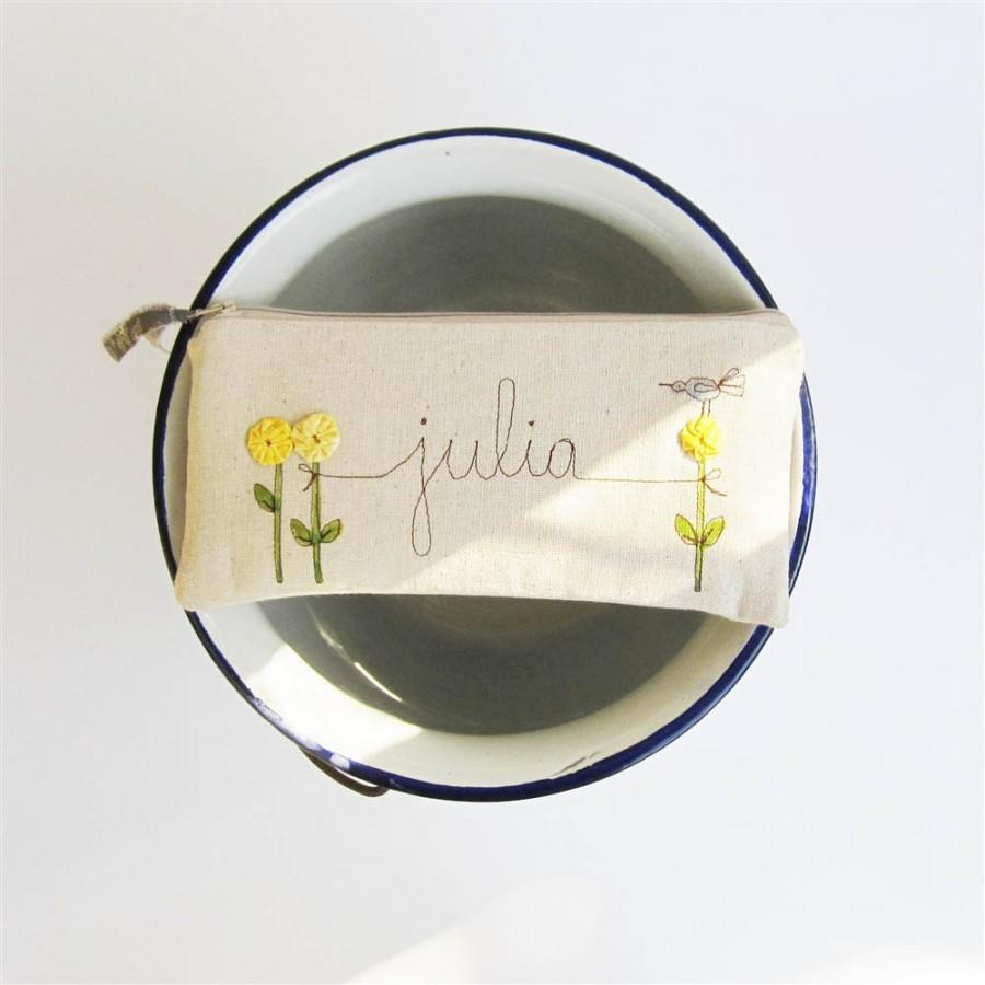 Mariage - Yellow Wedding Clutch, Personalized Gift for Bridesmaid or Maid of Honor, Golden Yellow Summer Wedding, MADE TO ORDER by MamaBleuDesigns