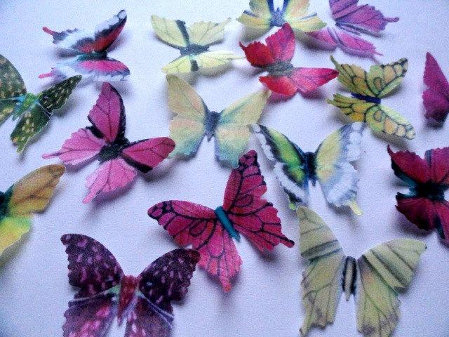 """Mariage - 24 PINK & YELLOW Small Assorted Edible Wafer Paper Butterflies 1.75"""" Pre Cut Decorations Toppers Macaron Cookies By Everything's Edible"""