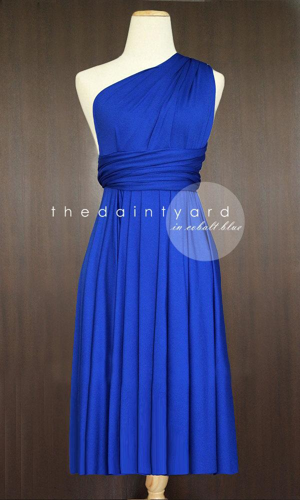 Short Straight Hem Cobalt Blue Infinity Dress Multiway Bridesmaid Convertible Wrap Prom Transformer