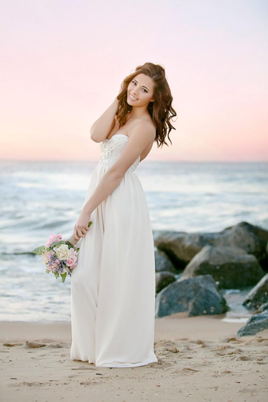 Свадьба - Bohemian Wedding Dress Beaded Sequin Romantic Strapless Wedding Gown- Verona