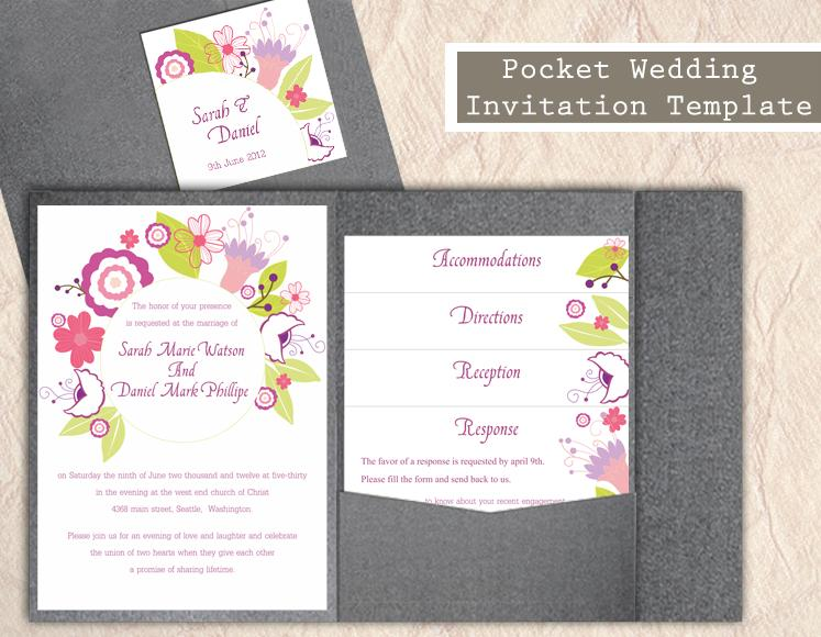 Wedding - Pocket Wedding Invitation Template Set DIY EDITABLE Word File Instant Download Printable Floral Invitation Wreath Wedding Invitation