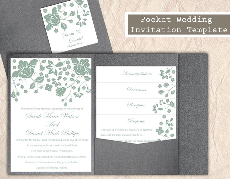 Свадьба - Pocket Wedding Invitation Template Set DIY EDITABLE Word File Download Floral Invitation Green Wedding Invitation Printable Invitation