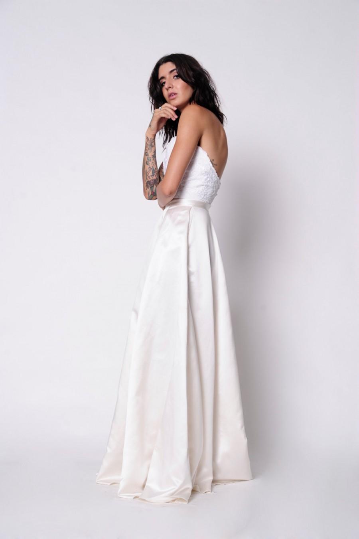Свадьба - Silk Bridal Skirt. Chasing Sunrise Skirt. Bridal Silk Satin Full A-Line Skirt with Pockets. Custom Made to Order.