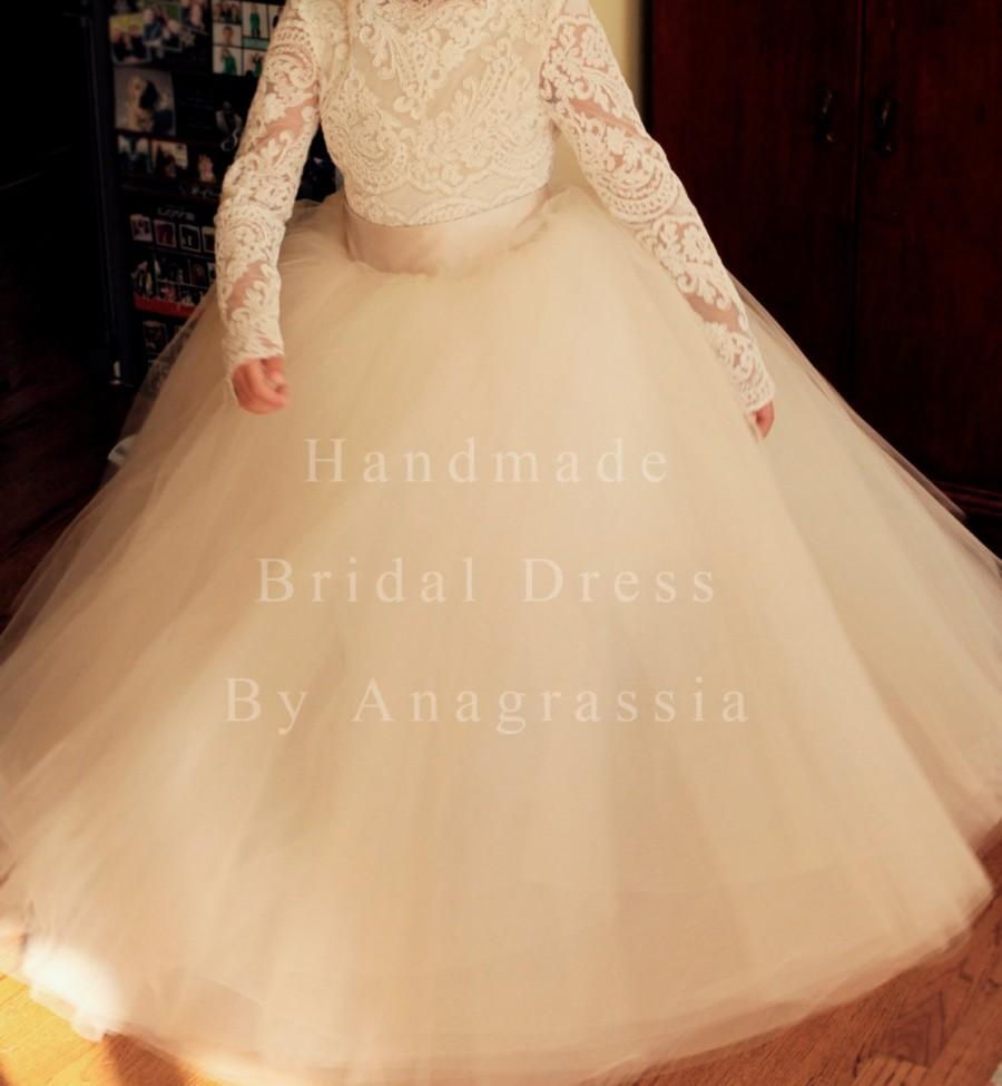 Wedding - The REAL Mary Grace/Angrassia Dress:  Champagne Toned Tulle Tutu Skirt with Sash for Flower Girl by Anagrassia
