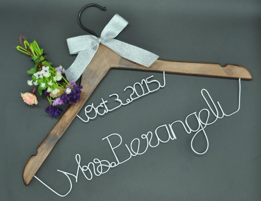 Wedding - wedding hanger with date, custom wooden wedding hanger, personalized bridal hanger, personalized rustic wedding dress hanger
