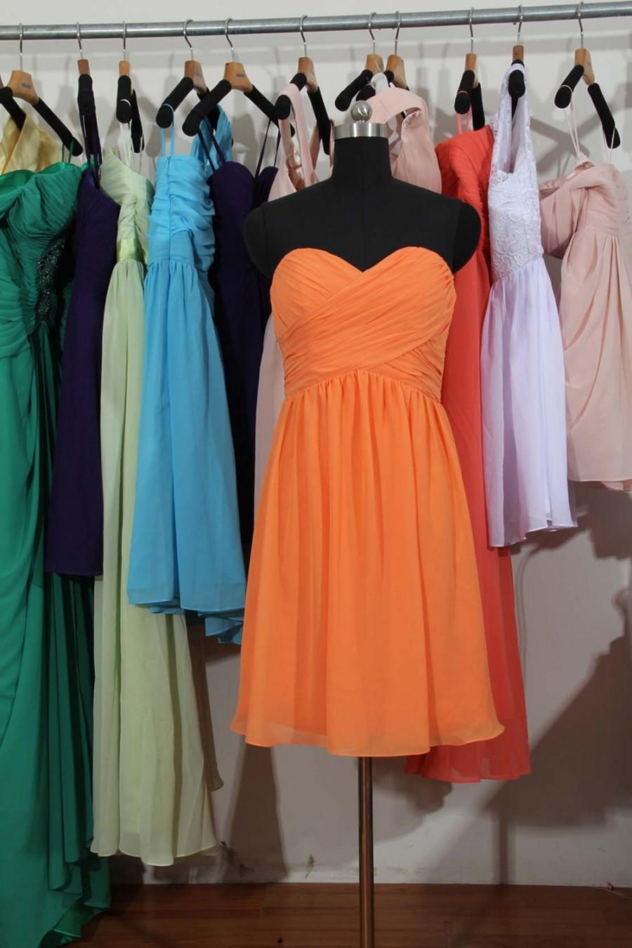 Wedding - Coral Bridesmaid Dress, A-line Short Chiffon Bridesmaid Dress