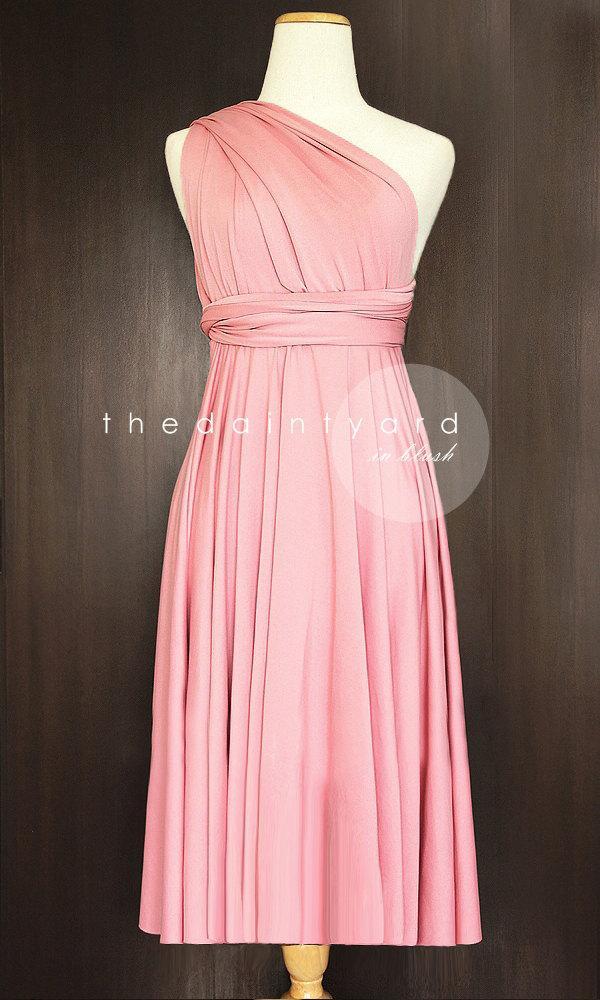 Düğün - PREORDER - Short Straight Hem Blush Infinity Dress Multiway Dress Bridesmaid Dress Convertible Dress Wrap Dress Wedding Dress Prom Dress