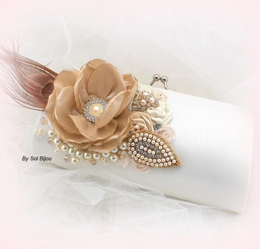 Wedding Clutch Champagne Beige Tan Off White Blush Purse Handbag Mother Of The Bride Pea Feathers Crystal Pearls Brooch