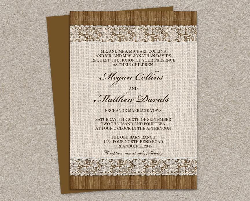 photograph regarding Printable Rustic Wedding Invitations known as Rustic Marriage ceremony Invitation With Burlap And Lace Layout, Do it yourself