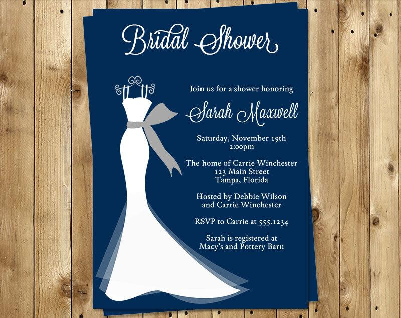 Bridal Shower Invitations Wedding Gown Navy Blue White Dress Gray Set Of 10 Printed Cards FREE Shipping ELGNY Elegant