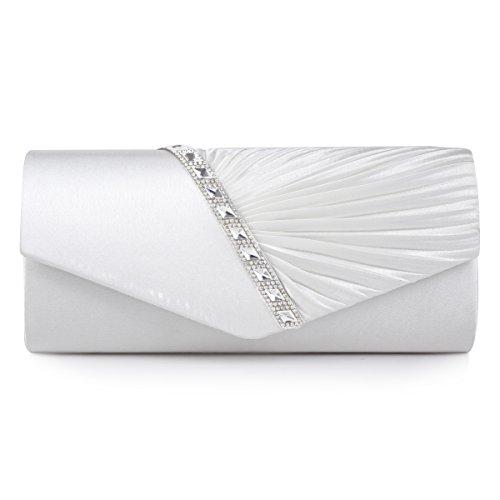 Wedding - Pleated Crystal-Studded Satin Handbag