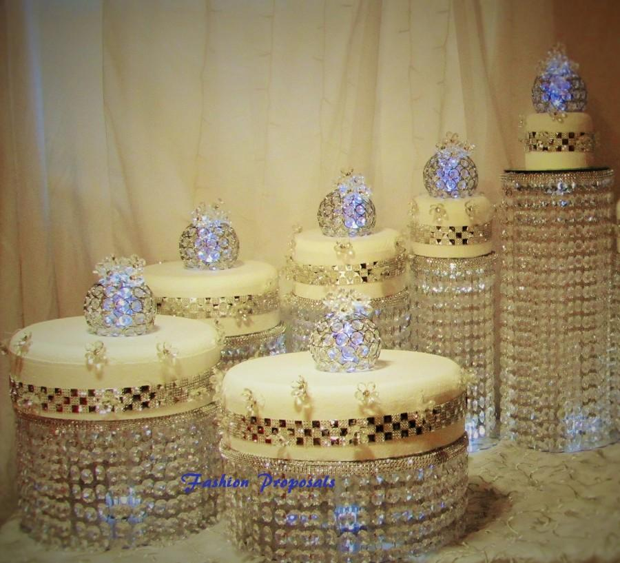 Wedding Cake Stand Cascade Waterfall Crystal Set Of 6 Asian Wedding ...