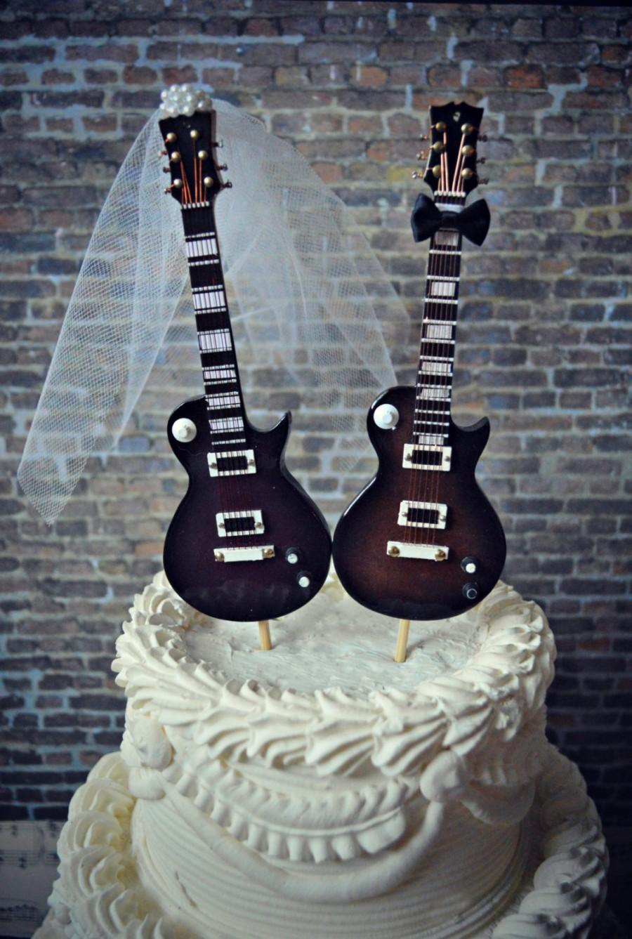 Electric Guitar Wedding Cake Topper Bride Groom Rock And Roll Musician Player Music Note Karaoke Band Grooms