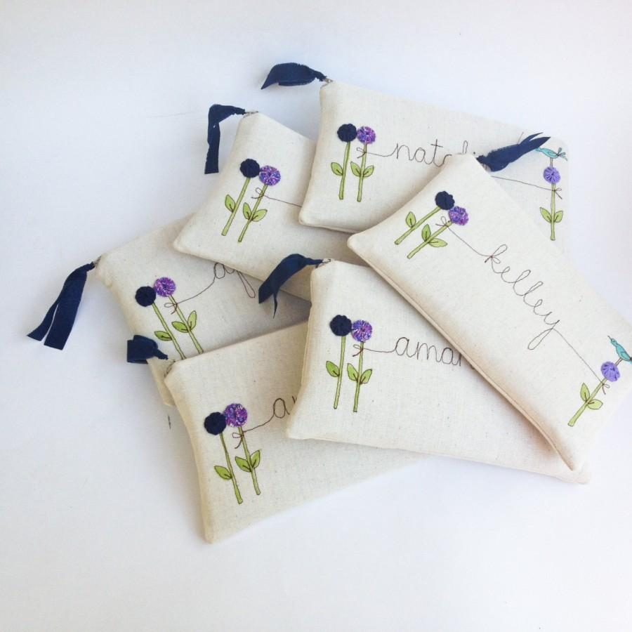 Mariage - Wedding Attendant Gifts, 6 Personalized Clutches, Purple Wedding, Embroidered Bridesmaid Clutch MADE TO ORDER MamaBleuDesigns
