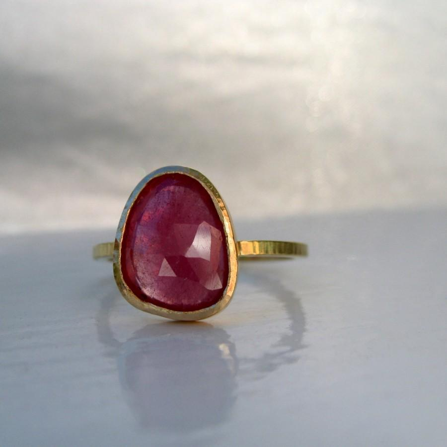 Wedding - SALE Pink rose cut sapphire and 18kt yellow gold ring  SHIPS NBD