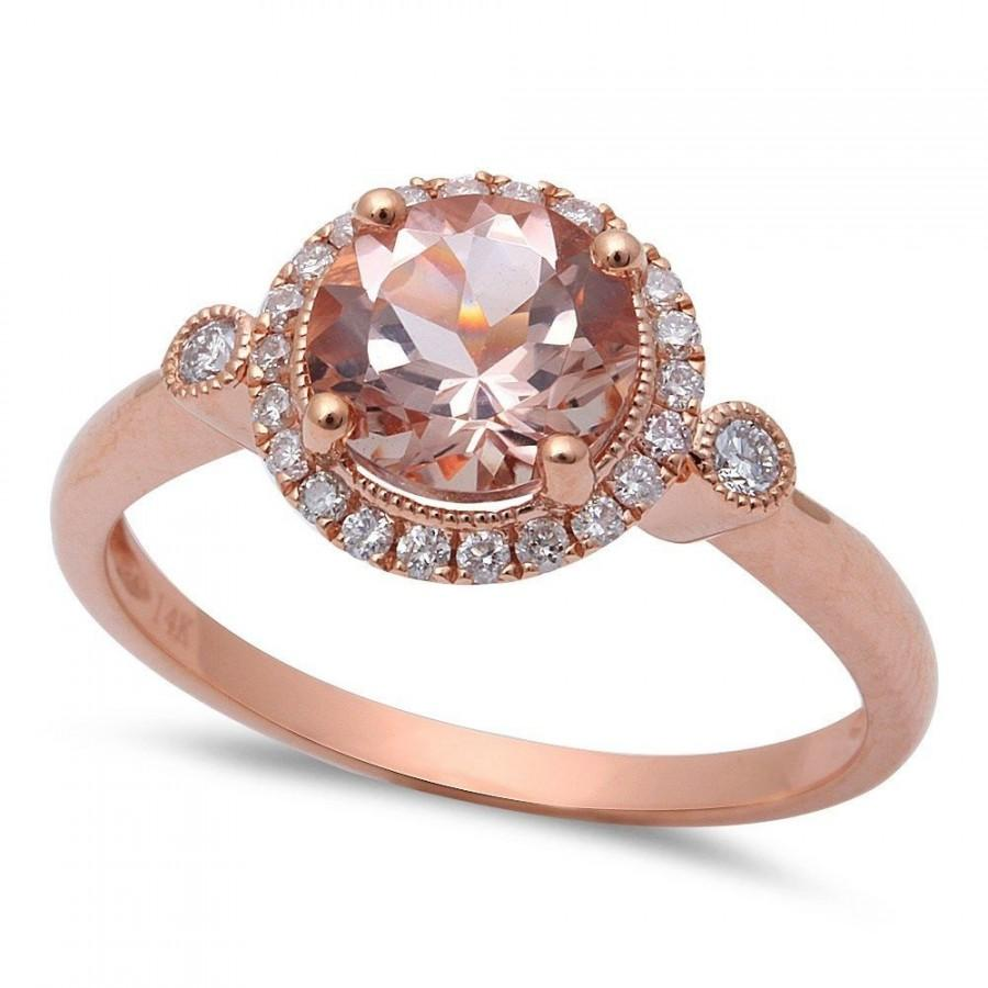 Rose Gold Ring Morganite Engagement Ring Rose Gold Diamond Engagement Ring H