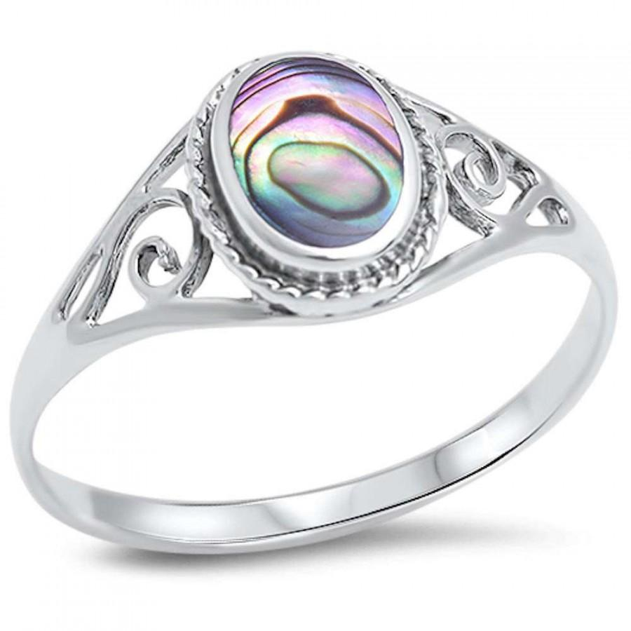 aba oval details abalone stone ring product sr swirl rings products silver vintage intricate sterling