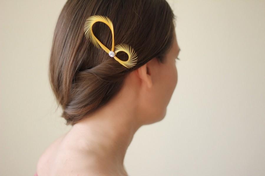 زفاف - Mustard Yellow Hair Accessories - 2 Pcs - Yellow Fascinators - Bridal Hair Accessories - Bridesmaids Gift - Prom - Maid of Honor Headpiece