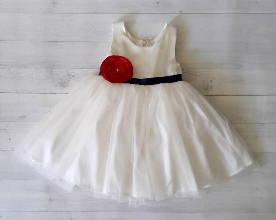 White flower girl dress satin white dress with contracting navy white flower girl dress satin white dress with contracting navy ribbon sash and red satin flower mightylinksfo