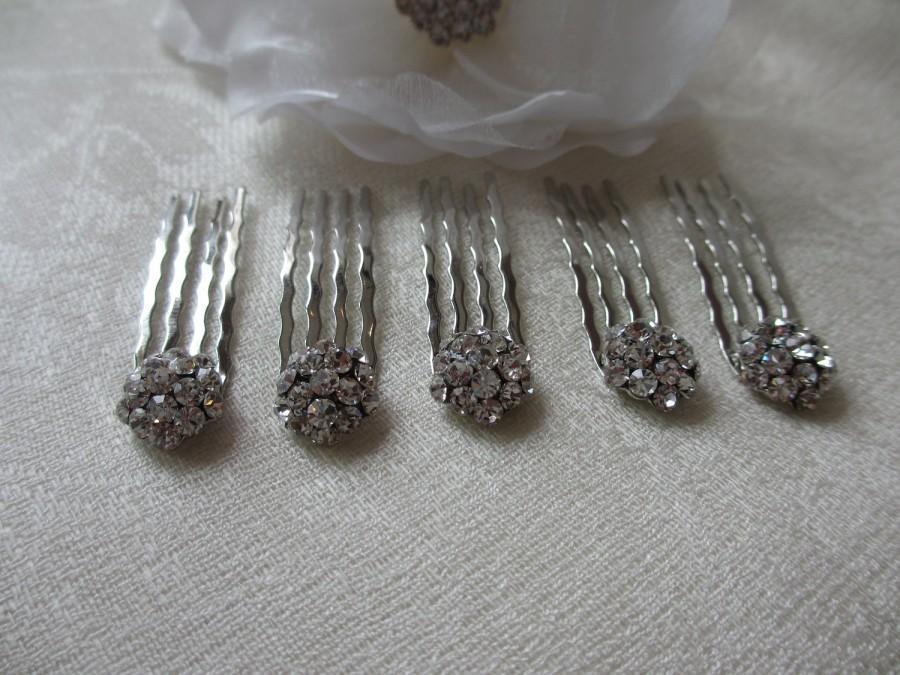 Hochzeit - Bridal Hair Buttons, Wedding Hairclips, Petite Haircombs, Small Haircombs, Swarovski Crystals, Rhinestone Hair Buttons, SOLD INDIVIDUALLY