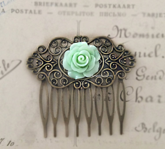 Hochzeit - Mint Green Hair Comb Light Green Wedding Bridal Floral Slide Rose Hair Pin Hair Accessories Bridesmaid Gift Shabby Chic Woodland Statement