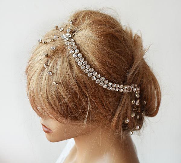 زفاف - Bridal Headband, Rhinestone Headband, Wedding Headband,  Rhinestone Headbands, Hair Accessory, Wedding Accessory