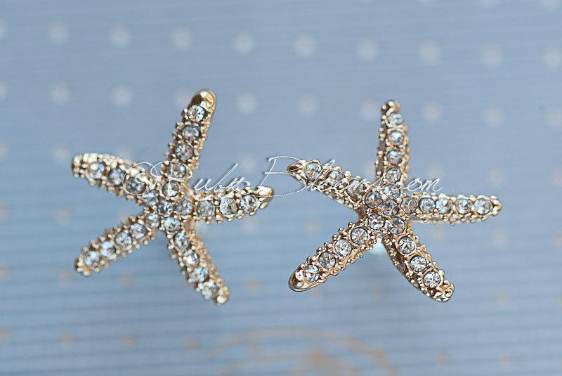 Mariage - Champagne Starfish Earrings. Gold Beach Wedding Jewelry Bridal Accessory Ivory Crystal Star Fish Destination Wedding - Ruby Blooms Jewelry