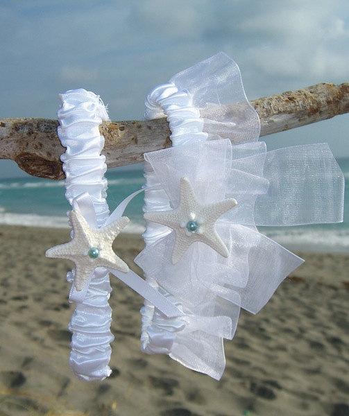 Wedding - Beach Wedding Garter Set-SOMETHING BLUE-Bridal Garter Set, White Wedding, Beach Weddings, Destination Weddings, White Garters