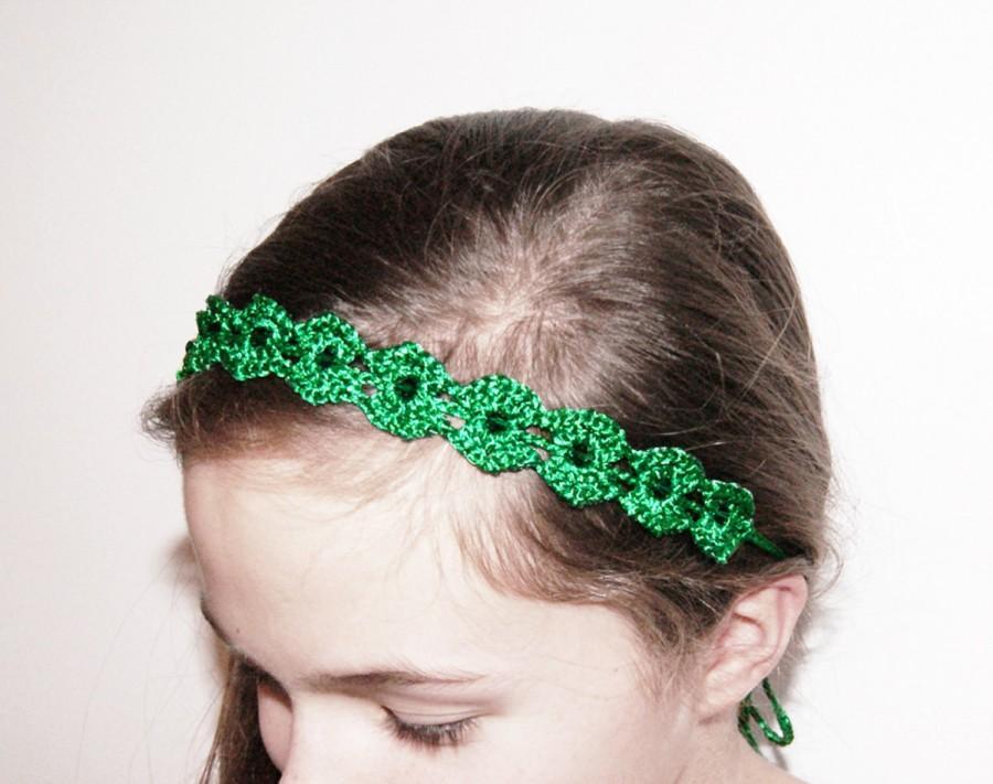 Mariage - Emerald Green Crochet Headband - Green Lace Beaded Headband - Flower Girl Headband - Christmas Green Girls Headband with Swarovski Beads