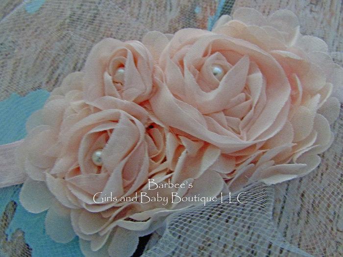 زفاف - Blush Pink, Ivory or White Chiffon Flower Headband with Pearls  for Flower Girls, Wedding