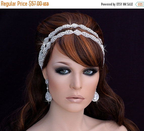 زفاف - SALE - Beaded Headband , Bridal Headband , Wedding Headband , Prom Hairpiece , Bridal Hairpiece , Wedding Hairpiece , Bachelorette
