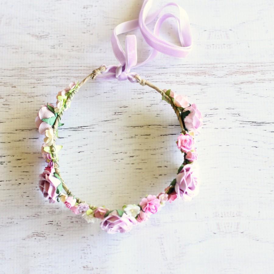 زفاف - Flower Crown - Wedding Bride Bridesmaid Bridal Shower Statement Hens Party Flower Girl High Tea Engagement - ROMANTIC ROSES in Lilac