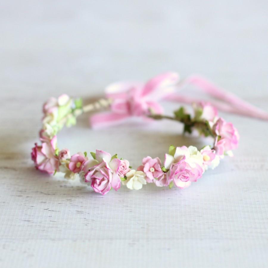 زفاف - Flower Crown - Wedding Bride Bridesmaid Flower Girl Hen's Party Statement Floral Headpiece High Tea Engagement - SWEETHEART in Blush