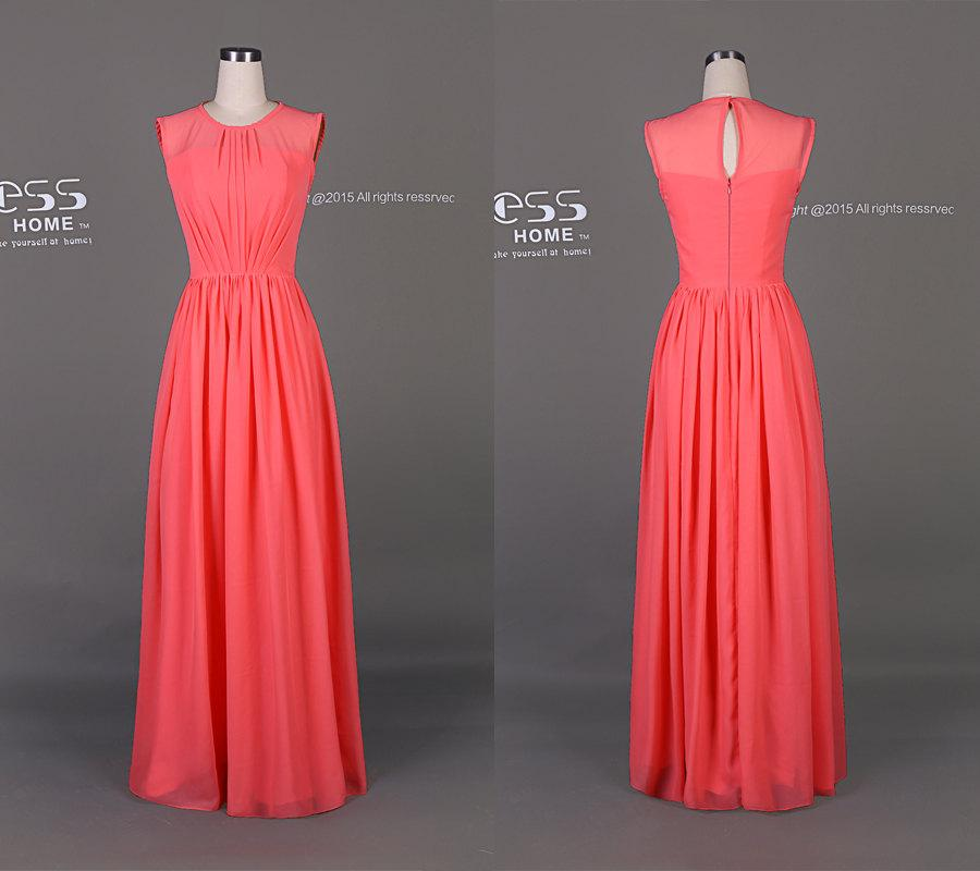 Wedding - Simple Watermelon Red Long Bridesmaids Dress/Maid of Honor Dress/Simple Long Prom Dress/Beach Wedding Party Dress DH170