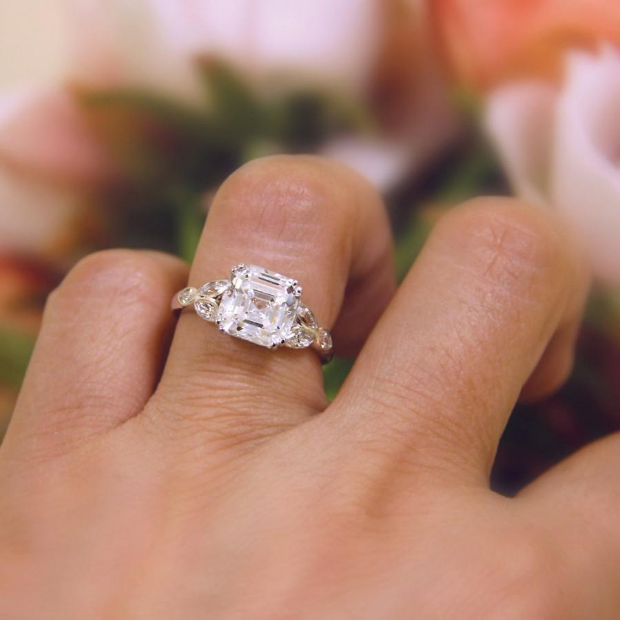 Hochzeit - 4.60 ct.tw Art Deco Engagement Ring-Asscher+Marquise Cut Diamond Simulants-CZ Ring-Bridal Ring-Wedding Ring-925 Sterling Silver-R32714