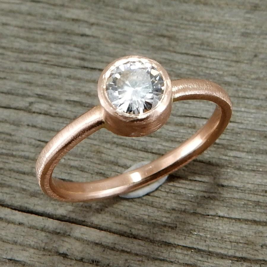 Delicate Moissanite And Recycled 14k Rose Gold Engagement Wedding Everyd