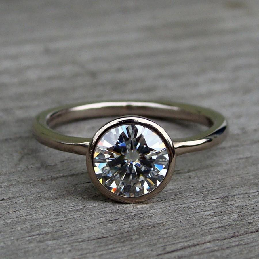 forever brilliant moissanite and recycled 18k palladium white gold alternative engagement ring eco friendly ethical made to order - Eco Friendly Wedding Rings
