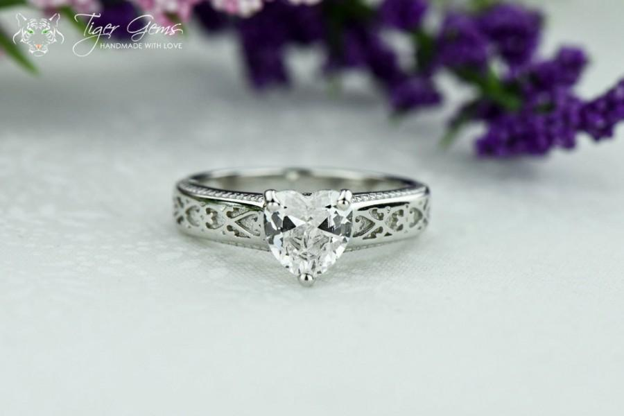 1 Carat Heart Solitaire Ring Engagement Ring Heart Engraved Band