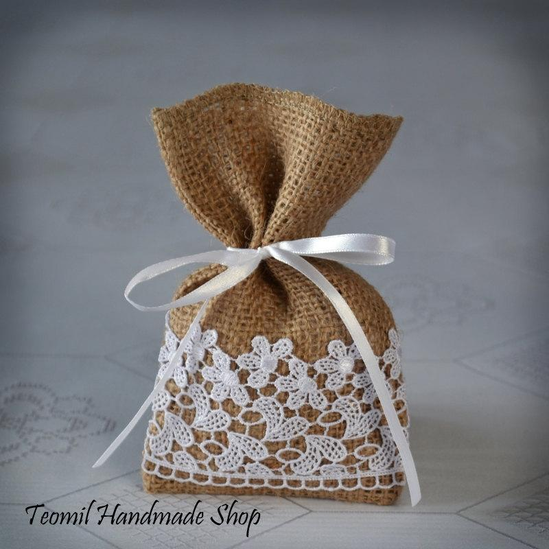 Candy Favor Bag Wedding Burlap Gift Bag Bridal Shower