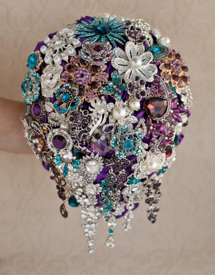 Свадьба - Cascading Brooch bouquet. Teal, Purple and Silver wedding brooch bouquet, Jeweled Bouquet