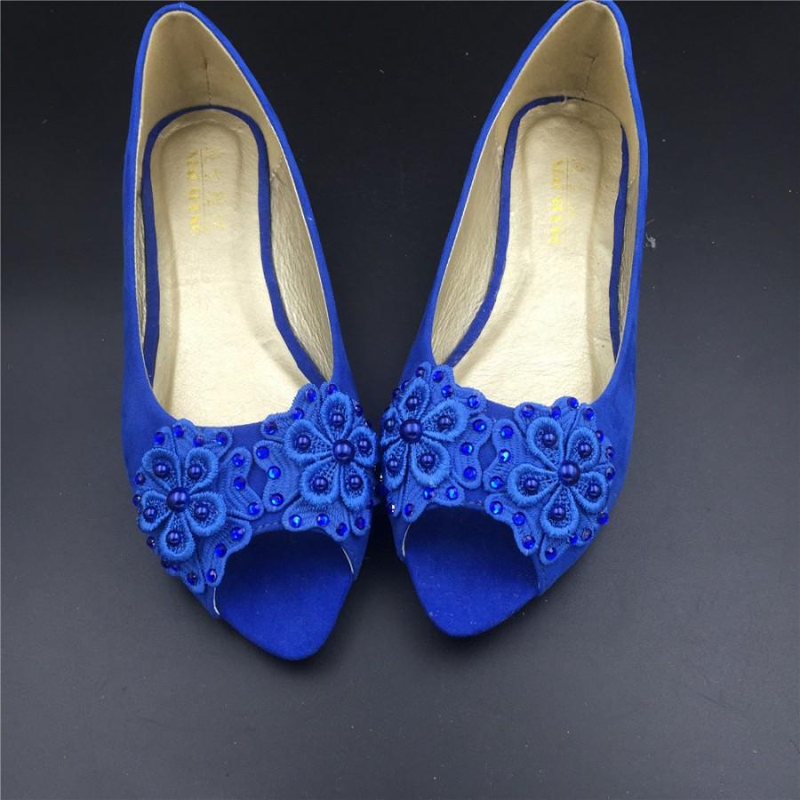 Girls Blue Vintage Lace Wedding Shoes,RoyalblueBridal Ballet Shoes,Lace  Peep Toe Flats Shoes,Women Wedding Shoes,Comfortable Bridal Flats