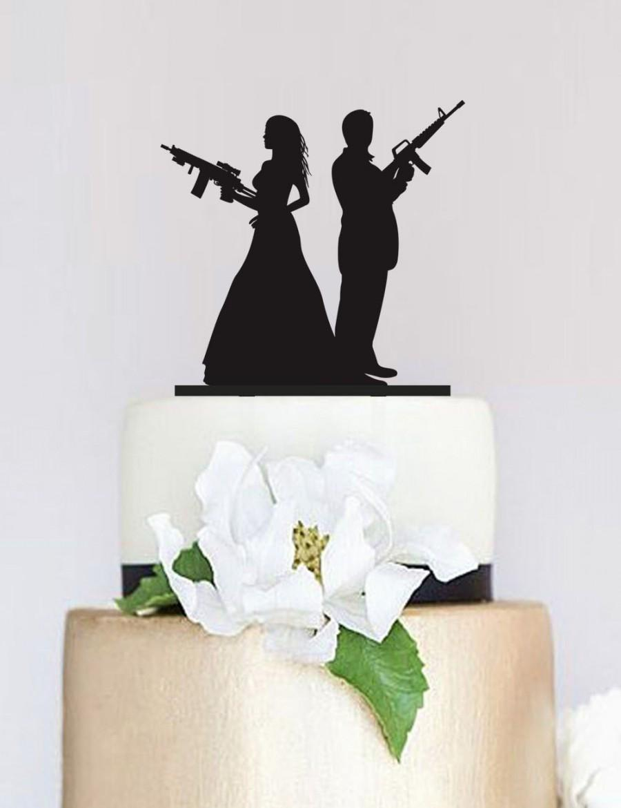 Gun Wedding TopperArmed Couple Silhouette Cake TopperWedding TopperCustom TopperPersonalized Topper P108