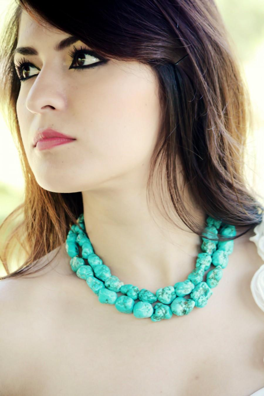 Hochzeit - Megan turquoise necklace chunky turquoise necklace statement necklace