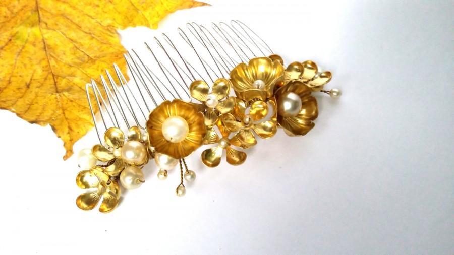 زفاف - Gold flower hair comb, bridal hair comb, woodland wedding